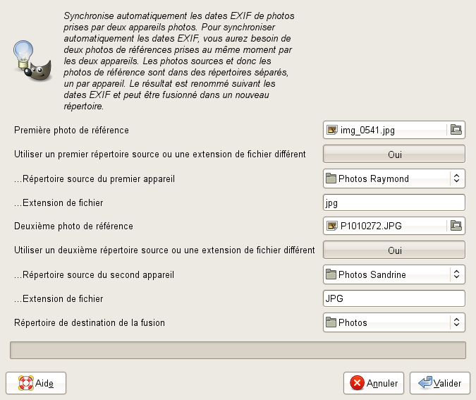 dialogue du python-fu autosynchronize2camera